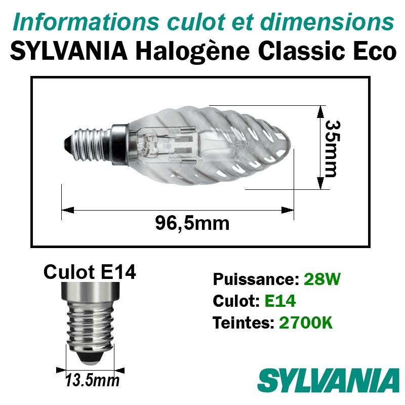 Sylvania halogène classic éco flamme torsadée 0023735