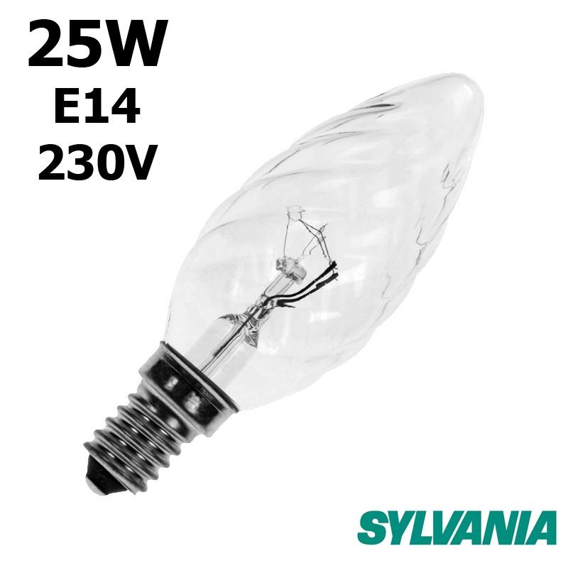 Ampoule flamme torsadée 25W E14 230V