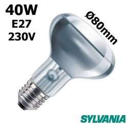 Ampoule réflecteur 80mm 40W E27 230V
