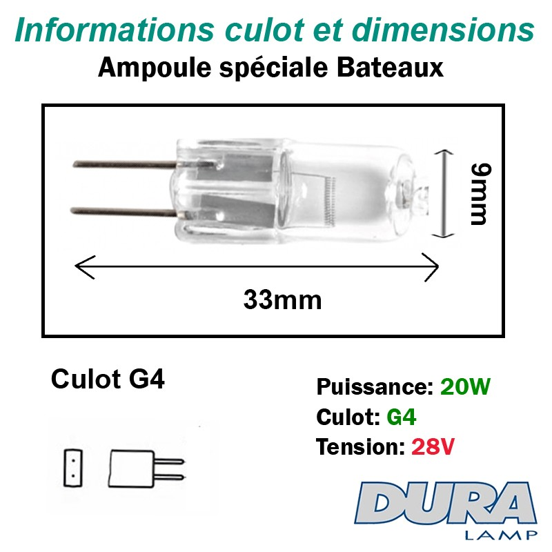Lampe 20W 28W G4