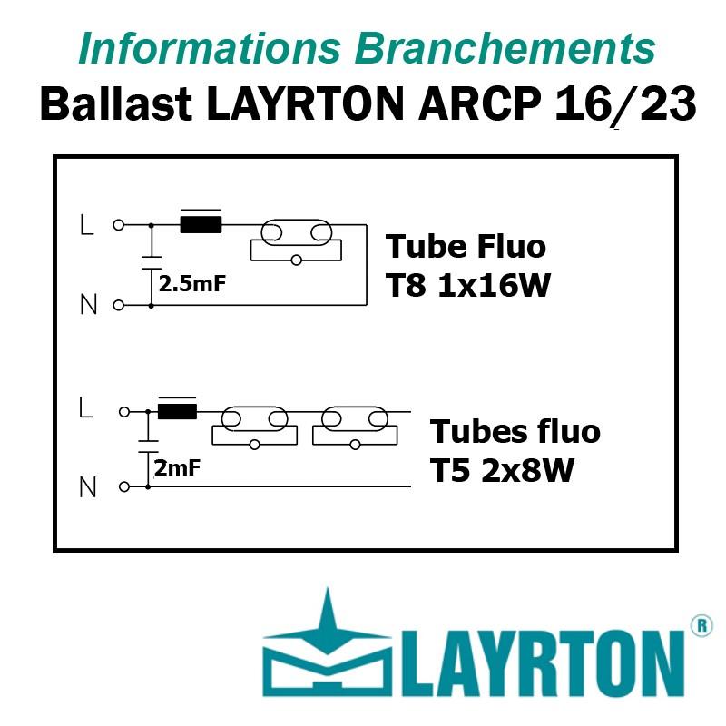 BRANCHEMENT BALLAST TUBE FLUO 16W 2x8W