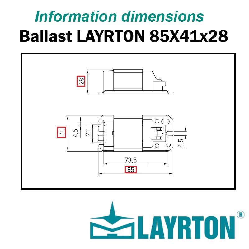 Dimensions ballast LAYRTON 85x41x28