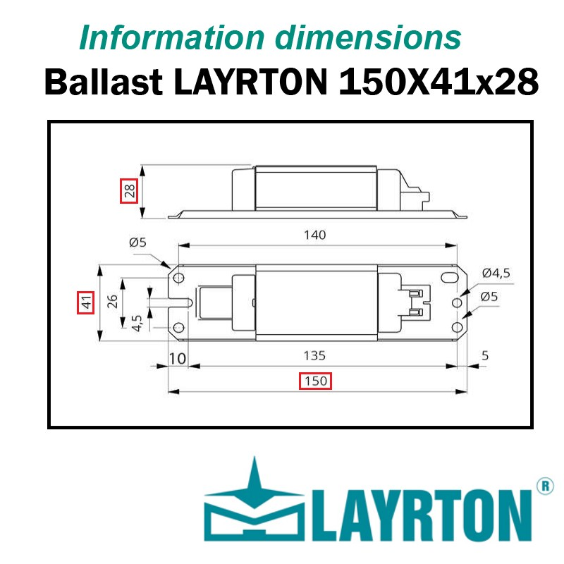 DIMENSIONS BALLAST 150x41x28