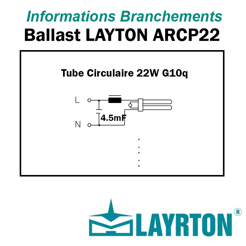 BRANCHEMENT TUBE FLUO CIRCULAIRE 22W