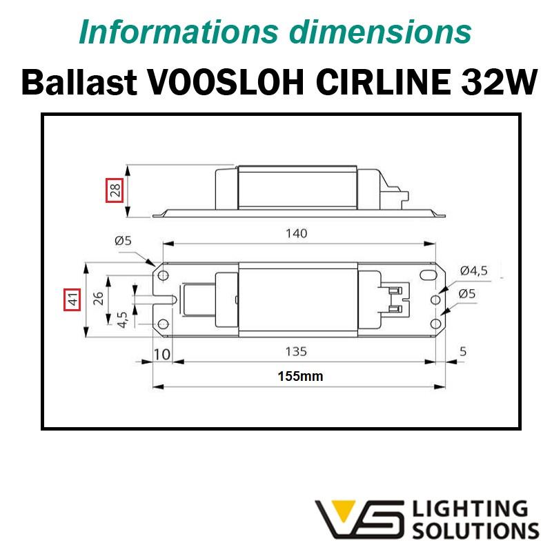 Dimension ballast VOSSLOH LN 36.570