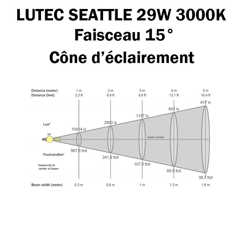 LUTEC SEATTLE 29W 3000K 15° - Cone d'éclairement