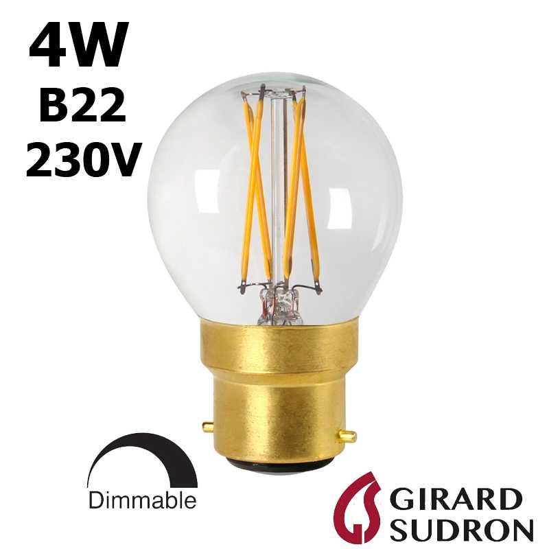 Ampoule LED sphérique claire B22 GIRARD SUDRON 28658