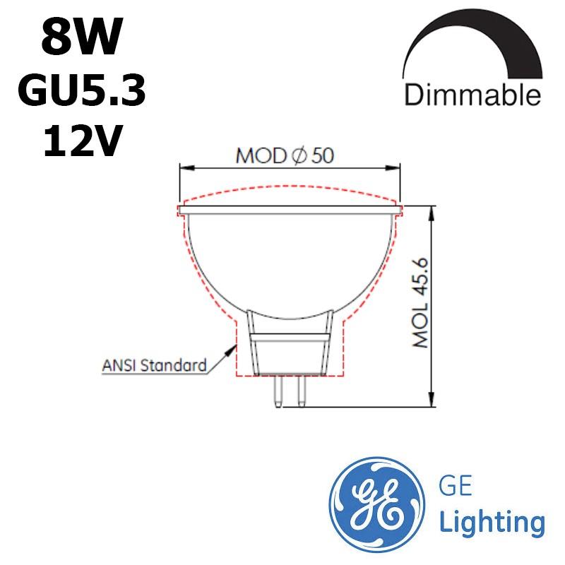 GE MR16 8W GU5.3 12V IRC90
