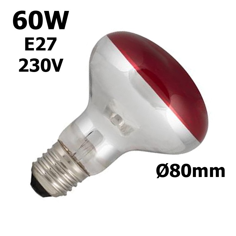 lampe rouge 60W E27 230V