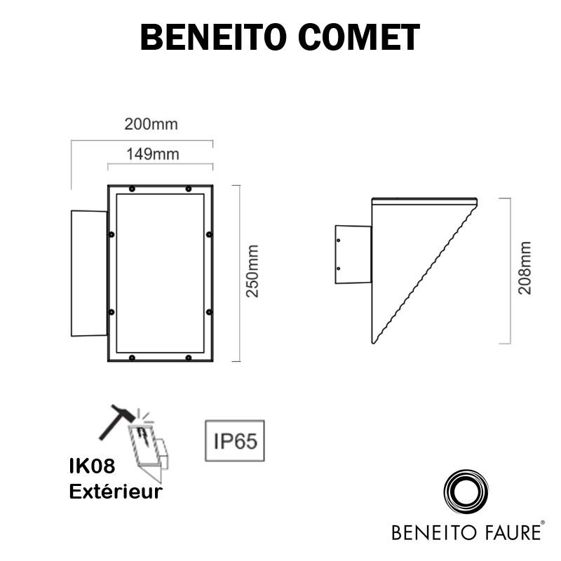 Applique murale extérieur BENEITO COMET dimensions