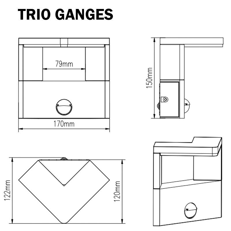 Applique extérieur avec detecteur TRIO GANGES