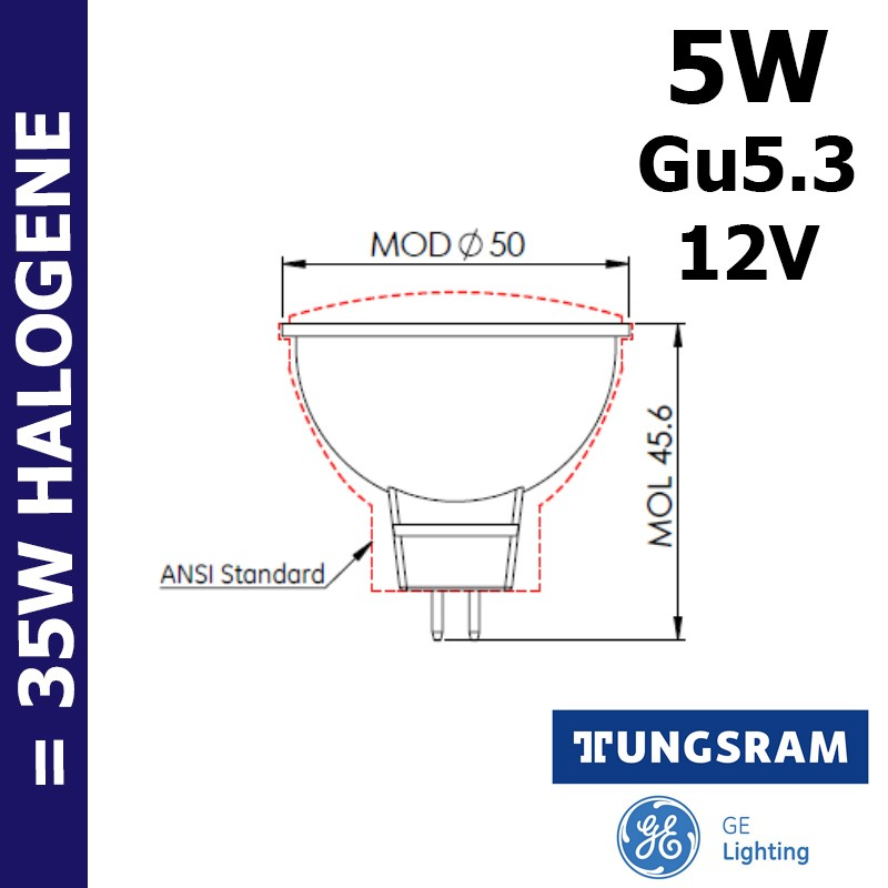 Ampoule LED MR16 5W GU5.3 12V