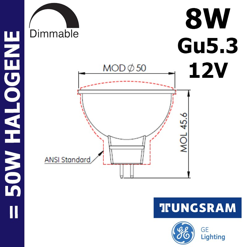 Ampoule LED MR16 8W GU5.3 12V