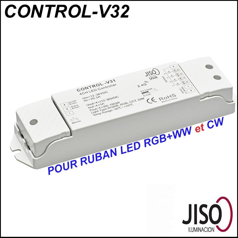 Contrôleur JISO CONTROL-V31 pour ruban LED RGB + double couleur