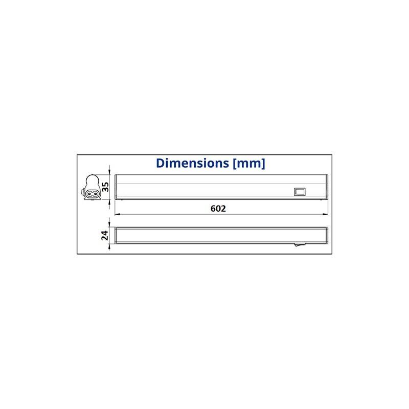 Dimensions réglette LED 8W