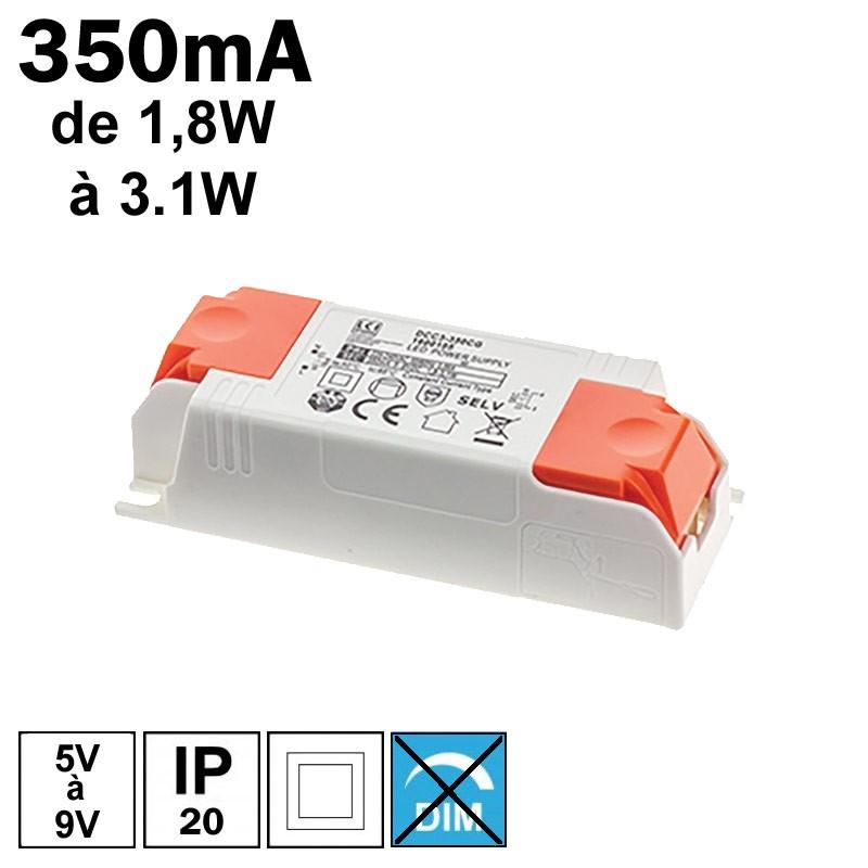LCI 1600105 - Alimentation LED 350mA de 1,8 à 3,1W
