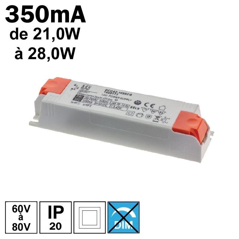 LCI 1600156 - Alimentation LED 350mA de 21,0W à 28,0W
