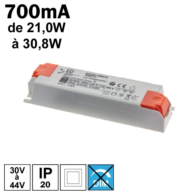 LCI 1600156 - Alimentation LED 700mA de 21,0W à 30,8W