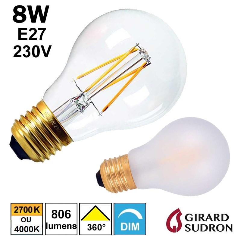 Ampoule FILAMENT LED standard 8W GIRARD SUDRON