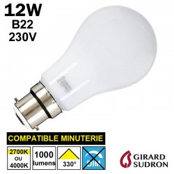 Ampoule B22 baïonnette LED 12W GIRARD SUDRON