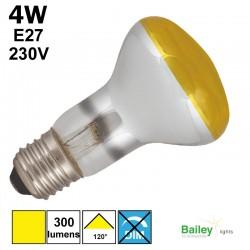 Spot LED jaune R63 4W E27 230V