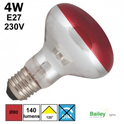 Spot LED rouge R80 4W E27 230V
