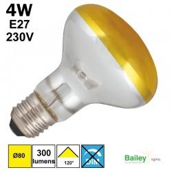 Spot LED jaune R80 4W E27 230V