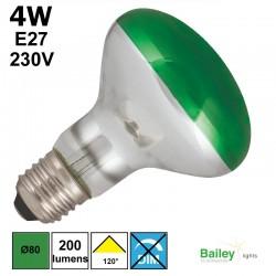 Spot LED vert R80 4W E27 230V
