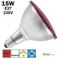 Spot LED rouge PAR38 15W E27 230V