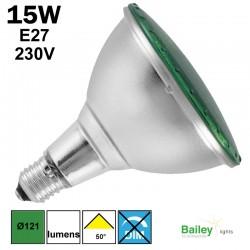 Spot LED verte PAR38 15W E27 230V