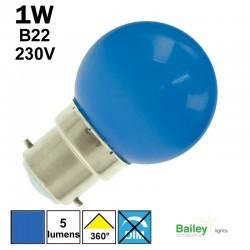 Ampoule bleue B22 - sphérique de guirlande