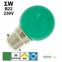 Ampoule verte B22 - sphérique de guirlande