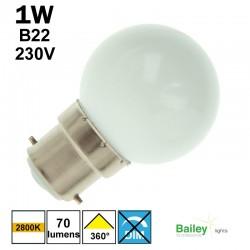Ampoule blanc chaud B22 - sphérique de guirlande