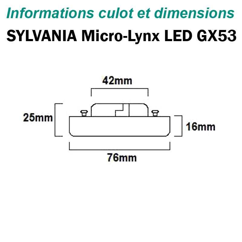 Lampe SYLVANIA Micro Lynx Gx53