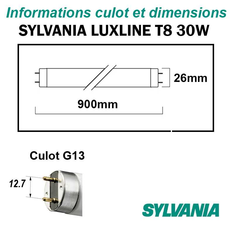SYLVANIA 30W TUBE FLUO T8