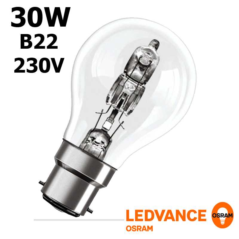 Ampoule eco-halogène 30W B22 240V RADIUM OSRAM
