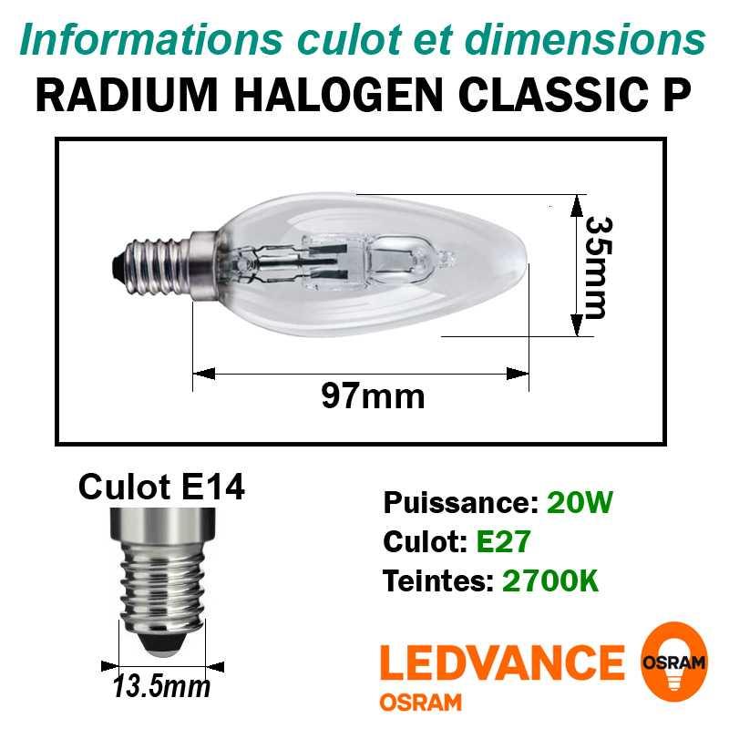 LAMPE 20W E14 HALOGENE FLAMME