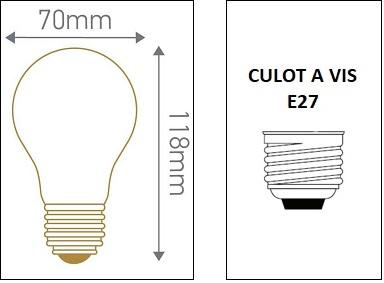 DImensions ampoule standard A70 E27