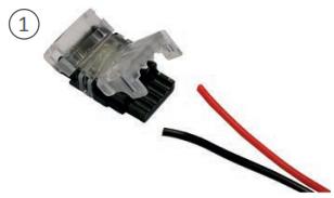 Branchement d'un ruban LED avec connecteur