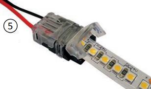 Ruban LED enfiché dans le connecteur