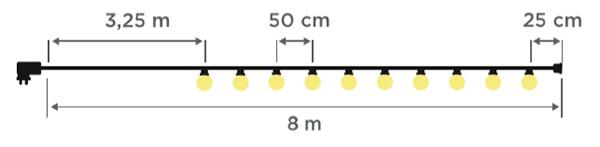 Dimensions guirlande 8m