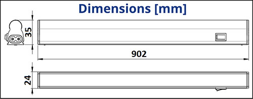 Dimensions réglette LED 12W - TUNGSRAM