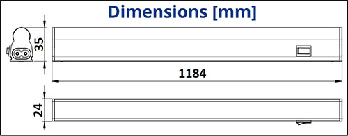Dimensions réglette LED 16W - TUNGSRAM