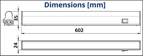 Dimensions réglette LED 8W - TUNGSRAM
