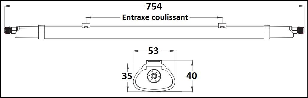 Dimensions réglette LED étanche LCI 5420170