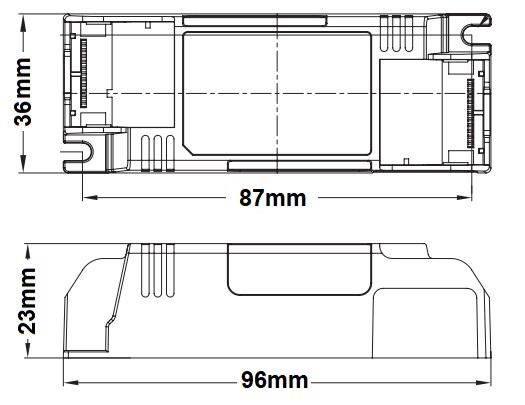 Dimensions alimentation LED LCI DCC 15-18-21