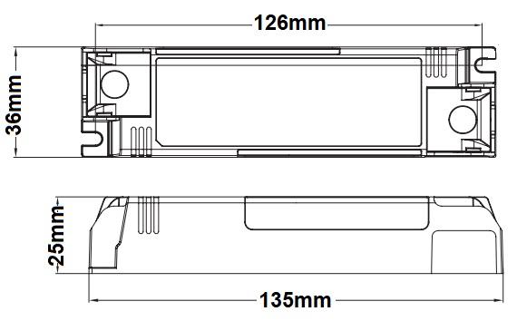Dimensions alimentation LED LCI DCC 24-28-30-36-42