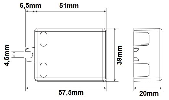 Dimensions alimentation LED LCI DCC 6