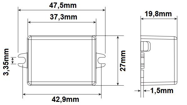 Dimensions alimentation LED LCI DCC 7