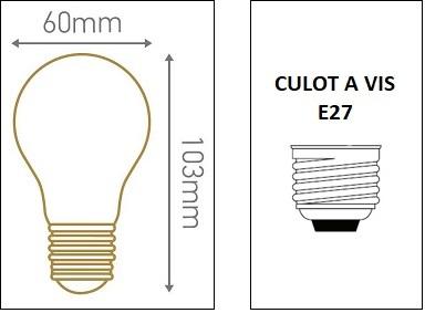 DImensions ampoule standard A60 E27